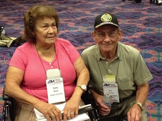 Blind veteran Betty Kays of Vancouver, Wash., and veteran Dan Thulin of Portland, Ore.