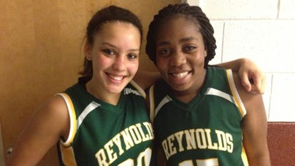 Tearany Stepp and Tisha Marion, right, were the only seniors for the Reynolds girls basketball team.