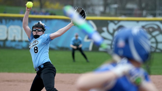 Bishop Kearney's  Emily Phelan, pitches against Irondequoit during a game last season.