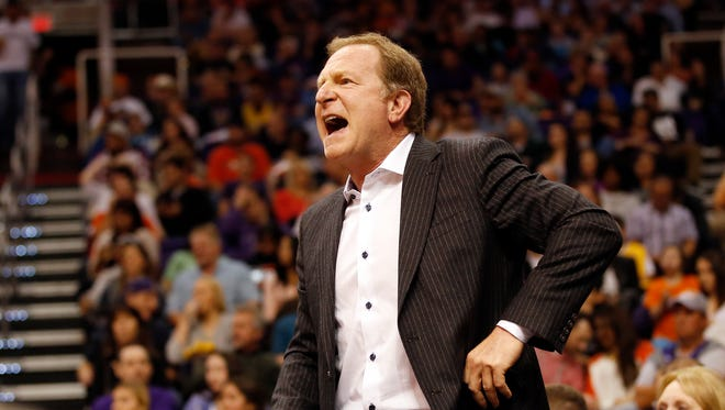 Suns owner Robert Sarver yells at the officials during the second quarter against the Lakers at U.S. Airways Center January 15, 2014.