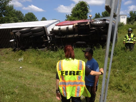 I-684 ramp chicken truck rollover