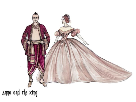 """Costume sketches from """"The King and I."""""""