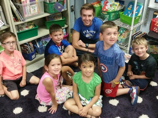 Salem's Matthew Croop visits with Bentley Elementary