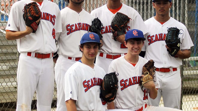 Cape Coral High's pitchers. Top row: Shane McClanahan, left, Kyle Arjuna, Josh Feliciano, and Jose Valmont. Bottomrow: Travis Torosian, left, and Reed Harris.