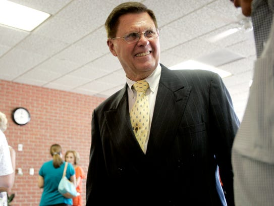 Rex Scofield smiles during retirement ceremonies after he stepped down as the San Angelo Independent School District Athletic Director in 2008. Scofield was also a longtime head baseball coach and assistant football coach at Central. His 1983 Bobcats baseball team will be inducted into the Bobcat Athletic Hall of Fame on Saturday, March 18, at the McNease Convention Center.