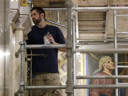 Restoration of  the paintings at St. Francis Xavier Cathedral is nearing completion. The work is part of a $2.7 million renovation of the cathedral.