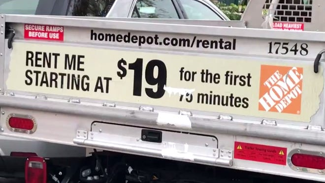 Show a clerk your driver's license, proof of auto insurance, hand over a credit card for a $50 deposit, and you can ride away in a big flatbed Home Depot rental truck.