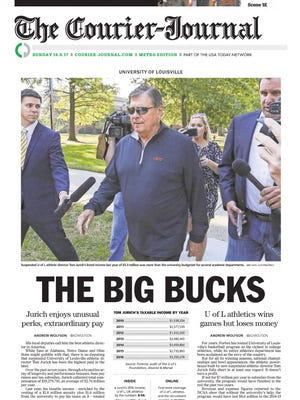 Courier Journal's front page on Oct. 8, 2017. Andrew Wolfson's stories on this cover won awards at the 2017 APSE's national contest.