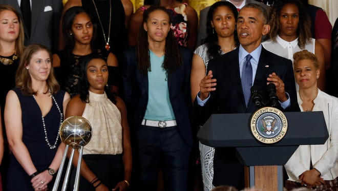 President Barack Obama speaks at a ceremony honoring the 2015 WNBA champion Minnesota Lynx in the East Room at the White House.