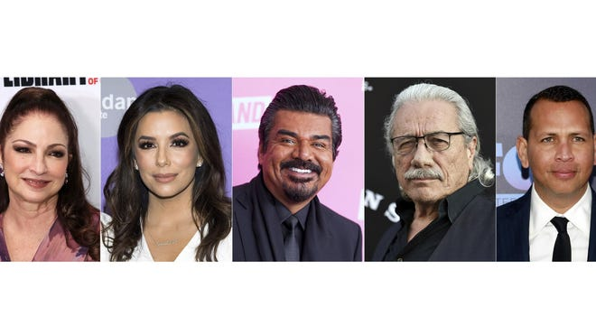 This combination photo shows, from left, musician Gloria Estefan, actress-producer Eva Longoria, comedian George Lopez, actor Edward James Olmos and former New York Yankees baseball player Alex Rodriguez, who will take part in a month-long tribute to Hispanic achievements conducted by The Paley Center for Media.