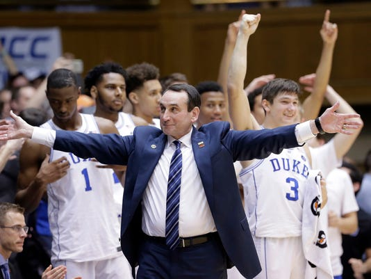 Duke coach Mike Krzyzewski reacts as time expires during the second half of the team's NCAA college basketball game against North Carolina in Durham, N.C., Thursday, Feb. 9, 2017. Duke won 86-78. (AP Photo/Gerry Broome)