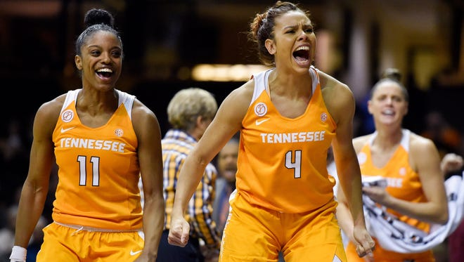 Tennessee Lady Volunteers forward Schaquilla Nunn (4) reacts to a Tennessee basket during the fourth quarter against the Vanderbilt Commodores at Memorial Gym in Nashville, Tenn., Thursday, Jan. 5, 2017.
