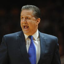 Feb 17, 2015; Knoxville, TN, USA; Kentucky Wildcats head coach John Calipari during the game against the Tennessee Volunteers at Thompson-Boling Arena. Mandatory Credit: Randy Sartin-USA TODAY Sports