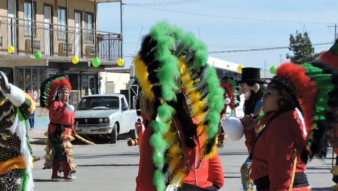 Colorful costumes, dancing and religious devotion were on display by the Matachinesin the streets of Palomas on Saturday.