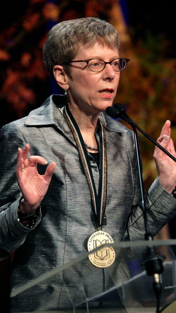 Terry Gross accepts the 2007 Literarian Award for Outstanding Service to the American Literary Community at the 58th National Book Awards in New York in 2007.
