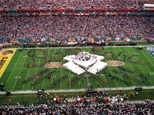 Halftime show at  Super Bowl XXX at Sun Devil Stadium in Tempe in 1996.