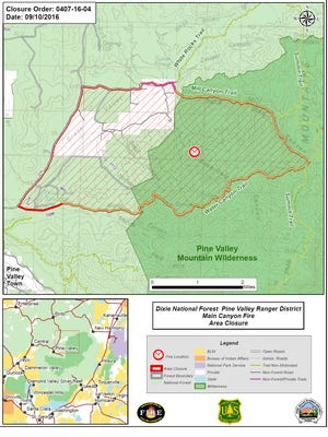 A map of the closure areas caused by the Main Canyon Fire.