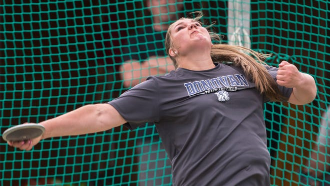 Alyssa Wilson of Donovan High school won the Group A discus at the State Groups 1, 4, and A Track & Field Championships at Egg Harbor, NJ on June 3, 2016.