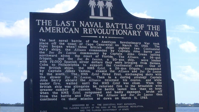 The state historic marker describing the last naval battle of the American Revolution.