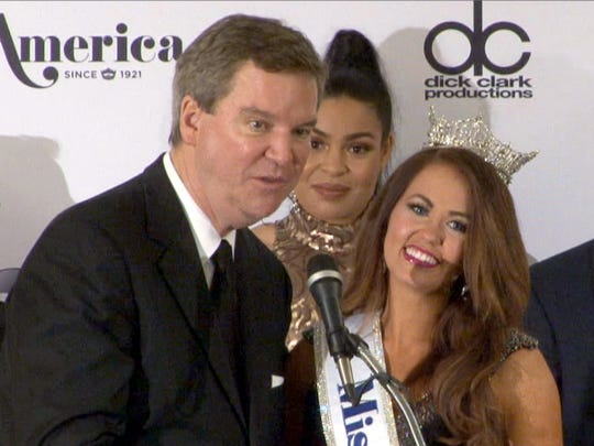 Miss America chief executive officer Sam Haskell is shown with Miss America 2018 Cara Mund, on Sept. 10, 2017, after the pageant held in Atlantic City. Photo by Thomas P. Costello/Asbury Park Press via USA TODAY NETWORK