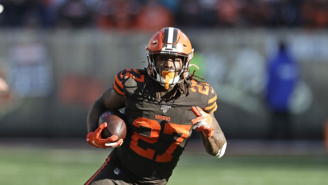 Browns running back Kareem Hunt rushes against the Baltimore Ravens on Dec. 22, 2019, in Cleveland.