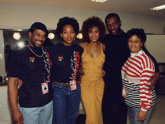 """Whitney"" looks at the inner circle of people who surrounded Whitney Houston, including (from left) Michael Houston, Robyn Crawford, Houston, Gary Houston and Ellen White."
