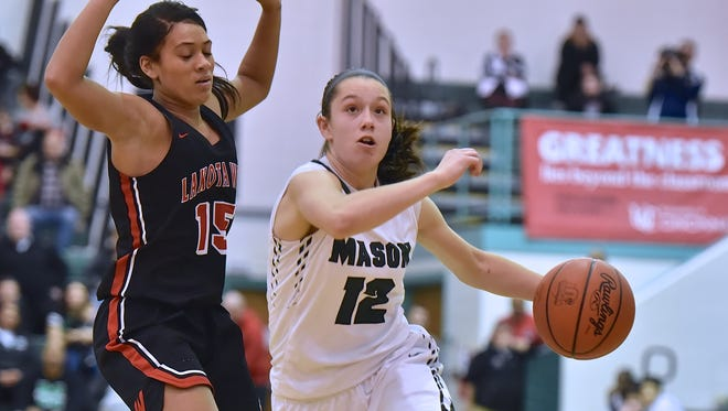 Mason's Megan Wagner cuts to the basket in the second half against Lakota West Saturday, February 10th at Mason