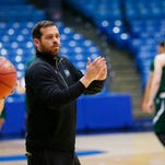 Mar 16, 2015; Dayton, OH, USA; Manhattan Jaspers head coach Steve Masiello reacts during practice at UD Arena. Mandatory Credit: Rick Osentoski-USA TODAY Sports
