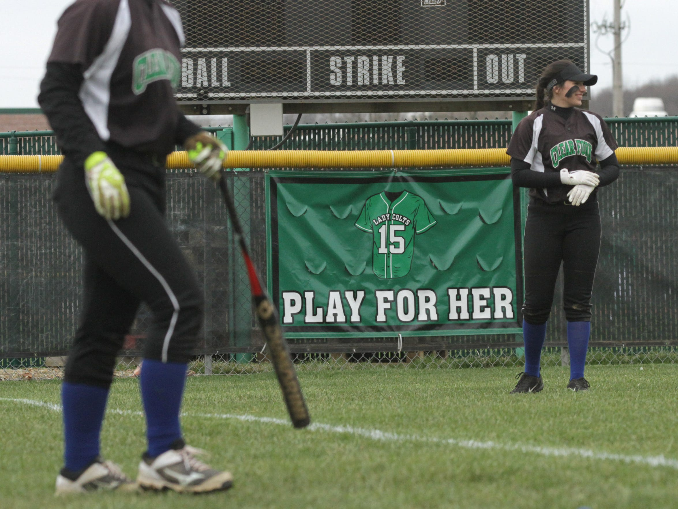 Clear Fork softball players wore blue socks during