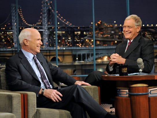 Arizona Sen. John McCain talks with host David Letterman