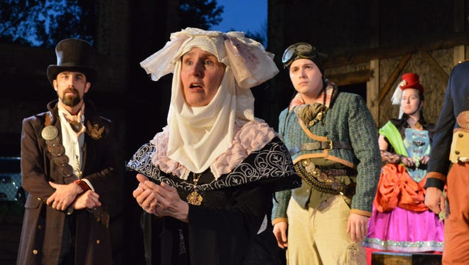 "Jeremie Korta as the Duke, Erica Pearson as the Abbess, Jeremiah Plessinger as Dromio of Syracuse, and Annie Evans as the Courtesan in ""The Comedy of Errors"" at Richmond Shakespeare Festival."