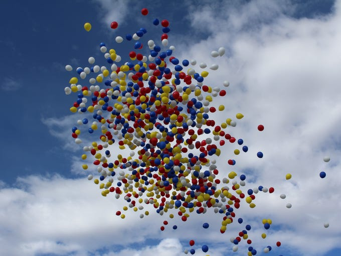A colorful balloon release marked the start of this