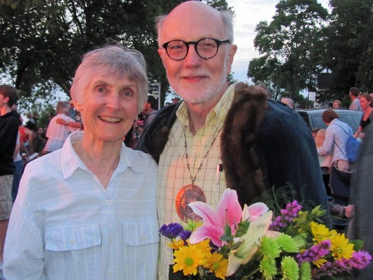 Joan Fitzpatrick and her husband, Walt Fisher, celebrate