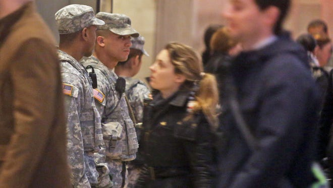 Members of the National Guard patrol Grand Central Terminal on Tuesday.