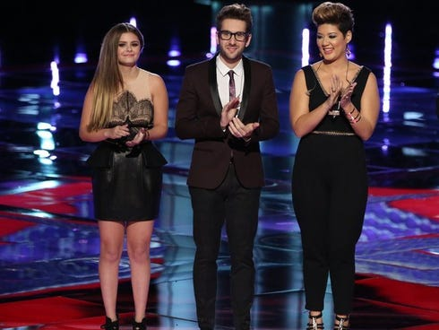 Finalists on 'The Voice' sang for the title on Monday nights show.  The trio vying to be Season 5 champion: Jacquie Lee, from left, Will Champlin and Tessanne Chin.