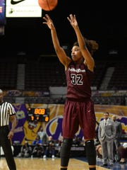 Maryland Eastern Shore's Keyera Eaton with the 3-point shot against Bethune-Cookman during the 2018 Mid-Eastern Athletic Conference championship on Wednesday, March 7, 2018 at The Scope in Norfolk, Va