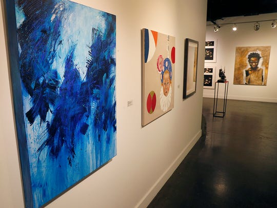 """Local artist Susan Brewer, of 10th West Gallery, will host """"Collectors' Night,"""" an event aimed to connect art collectors with great local art they can purchase. 10th West Gallery is located in the Stutz Building at 1060 N Capitol Ave. """"Duality of Endless Possibilities,"""" left, by Susan Brewer, left, and """"Moonchild"""" by Constance Edwards Scopelitis."""