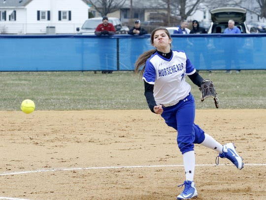 Madison Rogers delivers a pitch for Horseheads on April