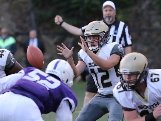 Clarkstown South's quarterback Drew Tallevi takes the