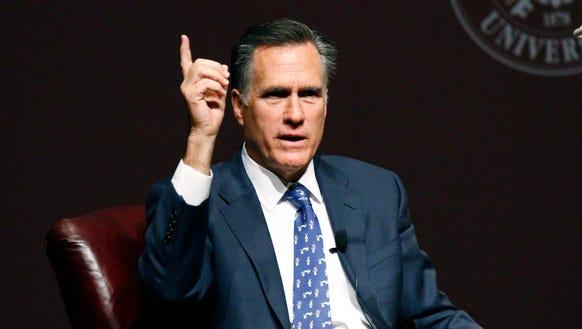 Mitt Romney speaks in Starkville, Miss., on Jan. 28,