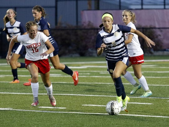 Notre Dame's Laurel Vargas brings the ball up the field