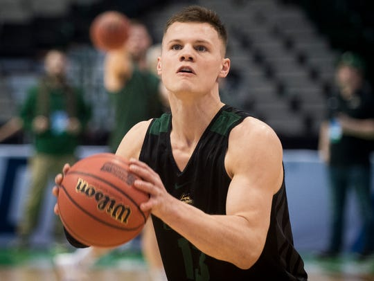 Wright State guard Grant Benzinger (13) during practice