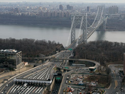 The tollbooth lanes, lower left, lead to the George Washington Bridge in this aerial file photo.