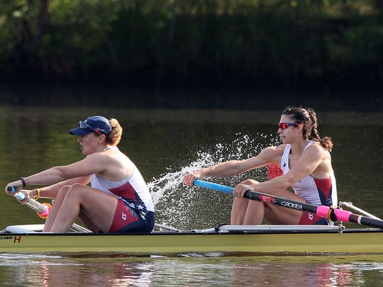 FILE – Amanda Polk (left) and Jamie Redman compete in the Womens 2 final during Day 2 of the 2012 Olympic Rowing Trials.