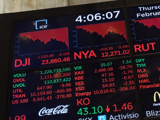 """Stock market """"correction"""": The closing numbers are displayed after the closing bell at the New York Stock Exchange on Wall Street on Feb. 8, 2018, when the Dow closed 10% below its late January all-time high, putting it in correction territory for the first time in two years."""