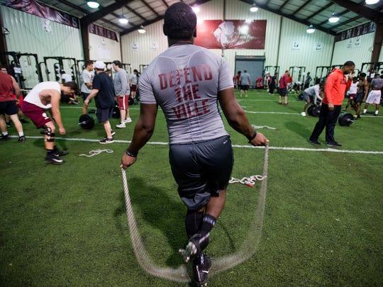 Prattville High School football players during weight