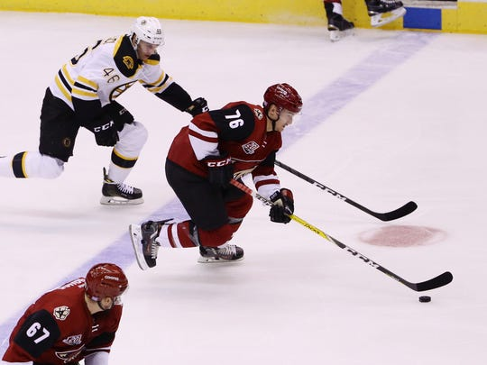 Coyotes' Laurent Dauphin, seen Saturday against the