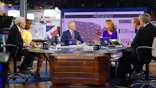 In this image released by CBS, CBS News Contributor Bob Schieffer, from left, CBS This Morning co-host Gayle King, CBS Evening News anchor Scott Pelley, CBS This Morning co-host Norah O\'Donnell, Face the Nation anchor John Dickerson and CBS This Morning co-host Charlie Rose host 2016 election night coverage on Nov. 8, 2016, at the CBS Broadcast Center in New York.