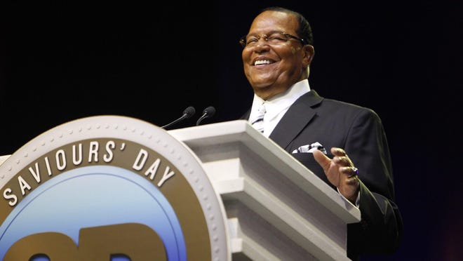 Minister Louis Farrakhan speaks to a packed crowd during a Nation of Islam convention at Joe Louis Arena in downtown Detroit.