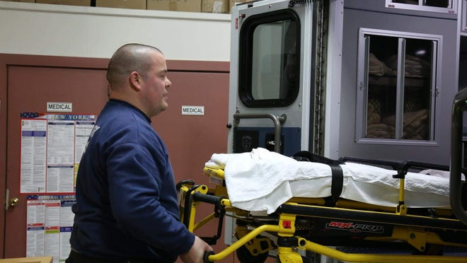 Town of Montgomery Volunteer Ambulance Corps Capt. Eric Shorette says patients who have coronavirus symptoms would be advised to come outside of their homes for service.